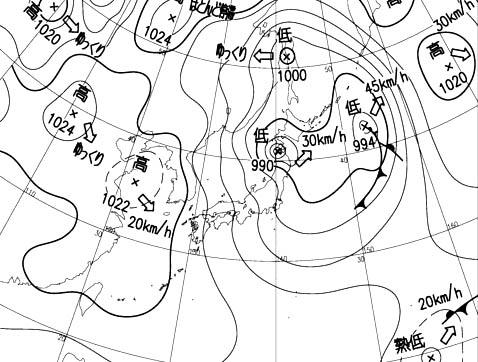 2月13日09時の地上天気図