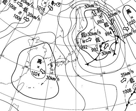 2月13日21時の地上天気図