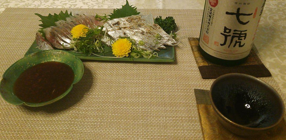 20150811太刀魚たたき真鯵造り