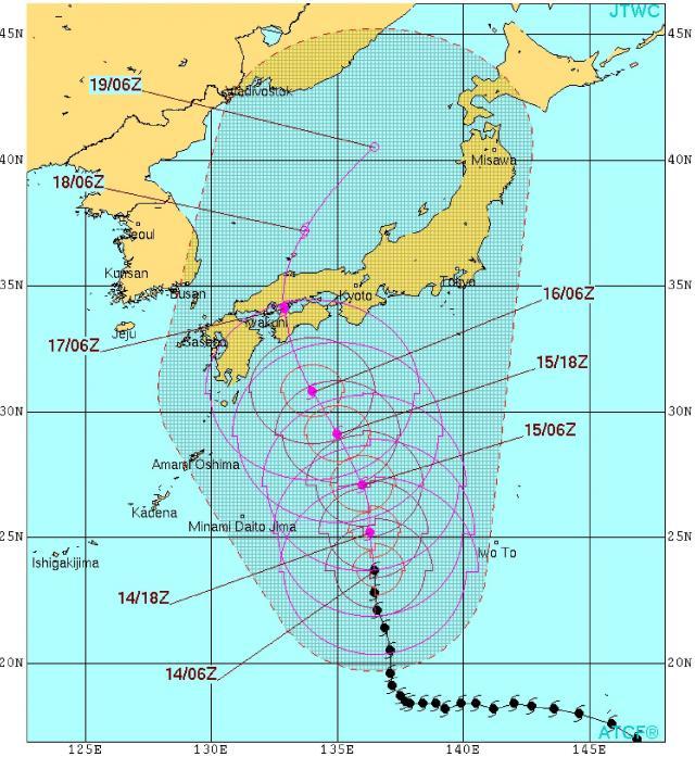 米軍の台風予想進路
