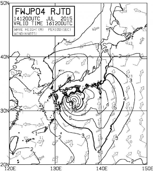 7月14日21時のデータを初期値として計算された16日21時の沿岸波浪予想図
