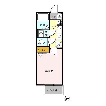 ■物件番号4177 予算6万円で駅も海も徒歩9分の好立地!黄色いキッチン!2階カド!独立洗面!