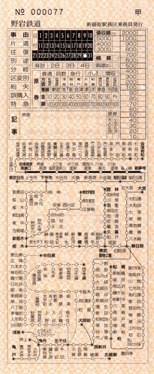 龍王峡→新藤原(地図式補充券)