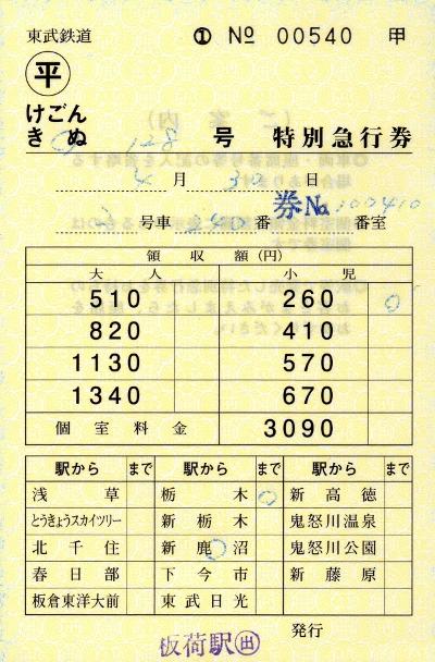 新鹿沼→栃木 特急券(きぬ128号)