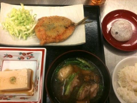 2012年3月20日 鯵の梅しそ揚げ、胡麻豆腐、雪見鍋、いちご大福