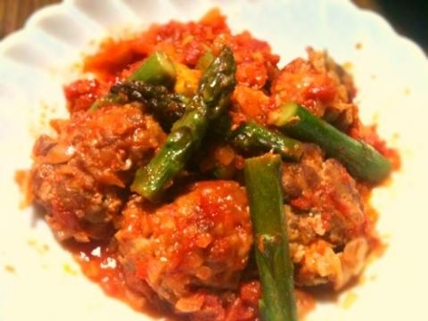 2012年4月28日 豚小間ボールとアスパラのトマト煮