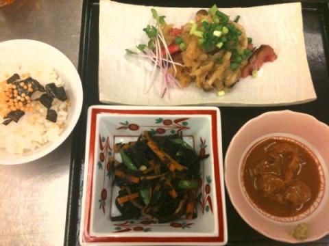 2012年8月7日 ひじきの煮物、和風ステーキ、鯛茶漬け