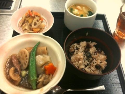 2012年9月25日 豆乳茶碗蒸し、柿なます、合鴨の治部煮、赤飯