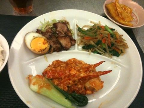 2012年10月9日 カニの辛味炒め、サツマイモの飴がけ、チャプスイ、醤肉