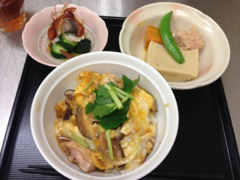 2013年6月25日 親子丼、高野豆腐の煮付け、ハモの梅肉和え
