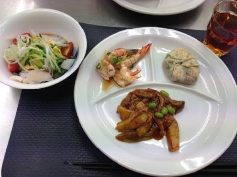 2013年7月9日 魚香茄子、ヒスイ冷麺、海老の香味蒸し、ニラまんじゅう