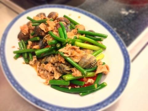 2013年8月27日 豚肉とあさりのニンニク風味炒め