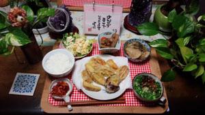 晩ご飯 天ぷら・煮物・ポテトサラダ
