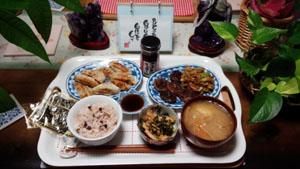 晩御飯 ギョーザ・肉野菜炒め