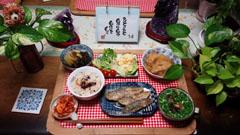 タコ飯・薩摩芋煮物・アジ南蛮・巾着煮・ポテトサラダ・スープ