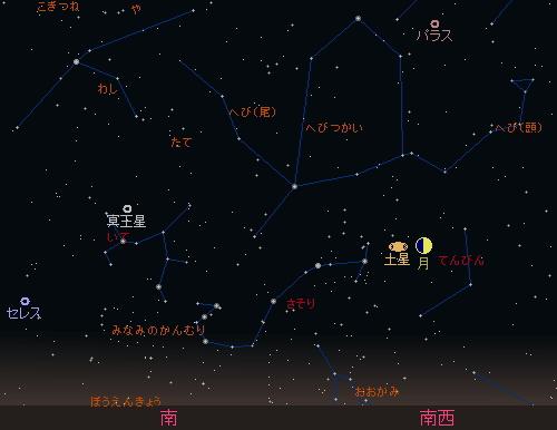 20150822 月と土星の接近星図