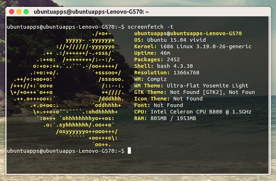 screenFetch Ubuntu コマンド システム情報