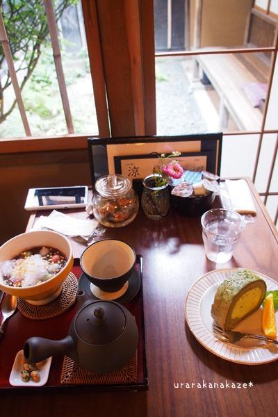 カフェ青 雪玉ぜんざいとほうじ茶セット&和暦ロールケーキ(抹茶のスフレロール)