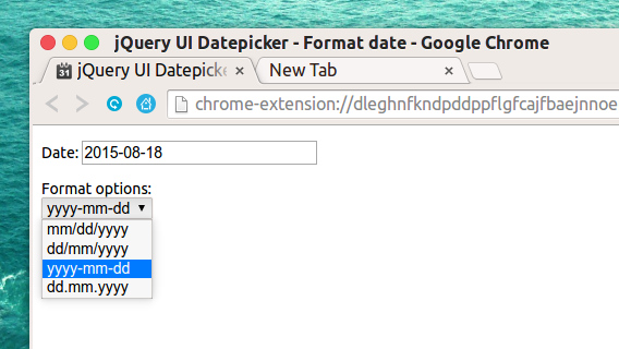 Date picker extension Chrome拡張 カレンダー 日付 コピー 書式