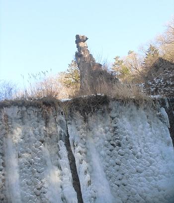 凍った滝の上部