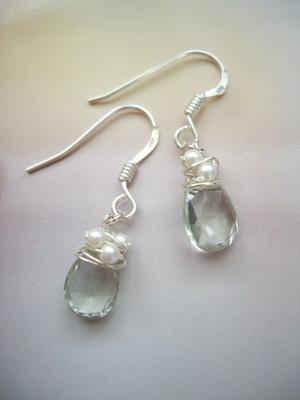 green amethyst beads wrap earrings