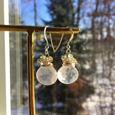 rose quartz beads wrap earrings