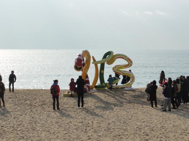 2013年1月1日朝 釜山海雲台にて