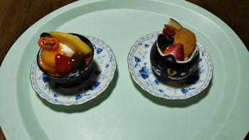 10/15 ハロウィン仕様のかぼちゃプリンとチョコムース 小田急百貨店TAKANO