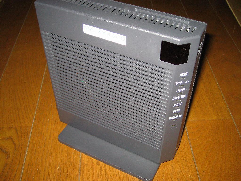 ひかり電話(光IP電話)申し込み、ひかり電話ルータ RT-S300SE(単体型) 専用スタンド取り付け後のひかり電話ルータ RT-S300SE