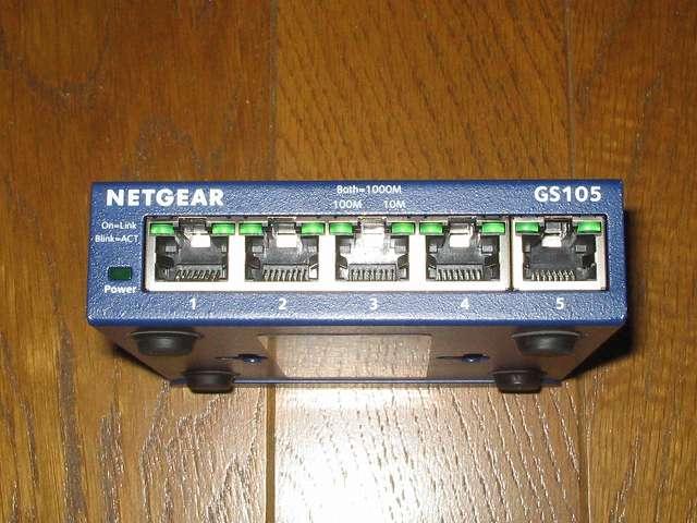 NETGEAR GS105-500JPS(GS105v5) 本体正面 LANポート側