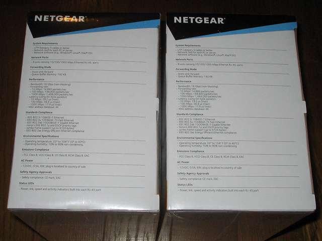 NETGEAR GS108-400JPS(GS108v4) パッケージ開封前側面 製品仕様(英語)