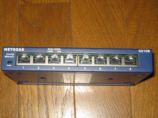 NETGEAR GS108-400JPS(GS108v4) 本体正面 LANポート側