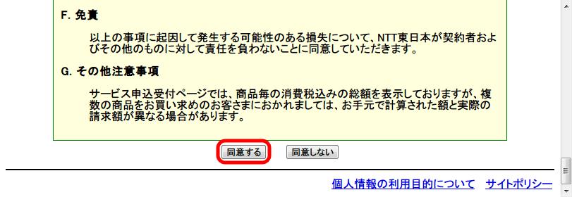 フレッツ・セッション・プラス申し込み サービス情報サイト NGN IPv4 フレッツ・セッションプラス同意書を確認したら「同意する」ボタンをクリック
