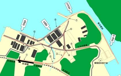 かつての長浦港・田浦港周辺図