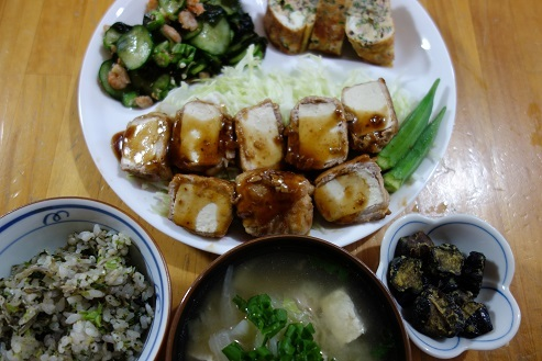 肉巻き豆腐、酢物、卵焼き