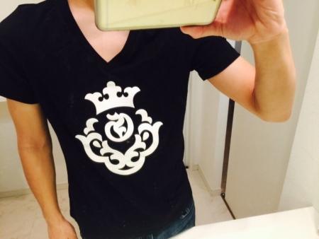 Atelier mark Deep V-neck Skinny T-shirt Soft & Light Material[Black][ST-48]