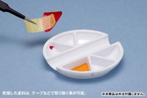 白い塗料皿 6マス&筆置きタイプ[WAVE] (4)