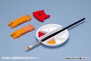 白い塗料皿 6マス&筆置きタイプ[WAVE] (5)