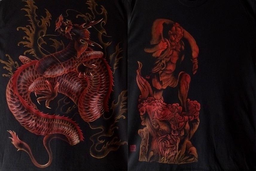 手描きTシャツ 風神雷神と昇り龍