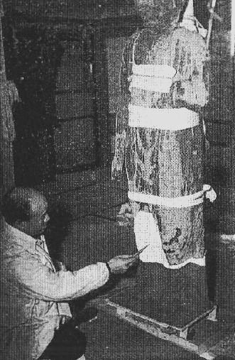 小沼神社・十一面観音像を修理する竹内不忘