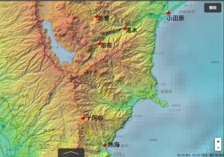 箱根山中の各拠点と小田原・熱海の位置関係