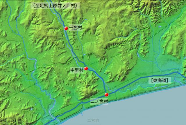 波多野道大山道:淘綾郡中の各村の位置