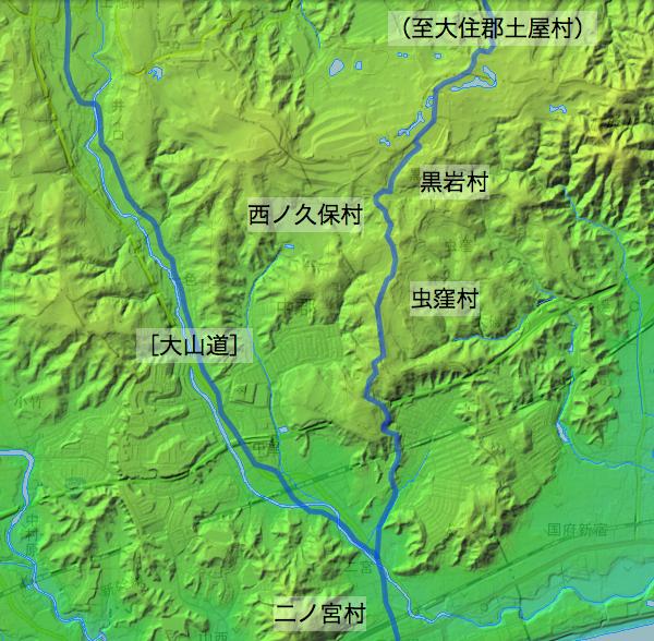 土屋道:淘綾郡中の各村の位置