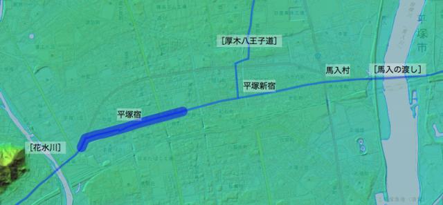 東海道:大住郡中の各村の位置