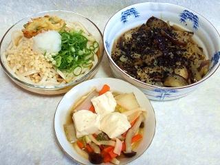 150714_3313ぶっかけ讃岐うどん・茄子と玉ねぎの煮物・白菜と豆腐の煮物VGA