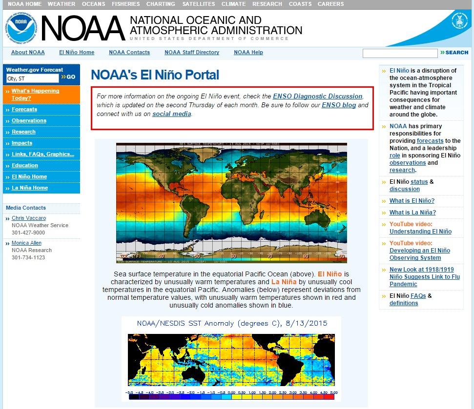 2015年のエルニーニョ現象は史上最強…NOAA「かなりの強さで、さらに増している」