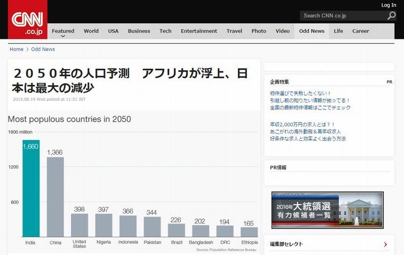 2050年の人口予測…最も大きな人口減少が見込まれる