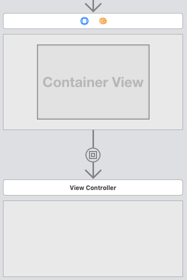 storyboardでContainer Viewを設置したところ