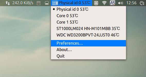 Hardware Sensors Indicator 0.8 Ubuntu 15.04