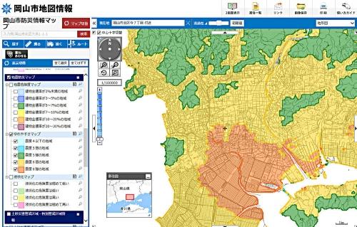 岡山市ゆれやすさ(震度)マップ301014